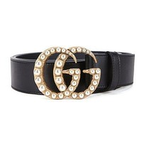 GUCCI Hot Sale Women Men Stylish Pearl Smooth Buckle Leather Belt I/A