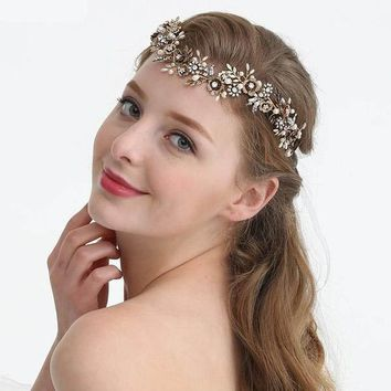Antique Gold Flower Leaf Bridal Wedding Headband