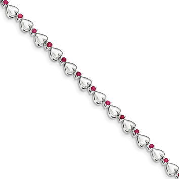 Sterling Silver and Ruby Heart Bracelet