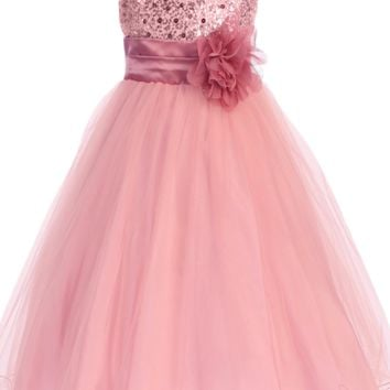 Girls Rose Pink Sequin Party Dress w. Lettuce Tulle Hem 2T-14