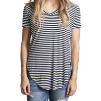 Black Stripe Piko V-Neck Curved Hem Top