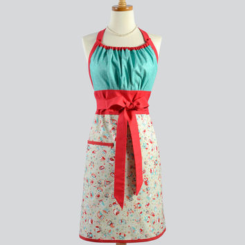 Cute Kitsch Retro Apron . Full Kitchen Chef Style Womens Handmade Apron Vintage Cute Winking Owls With Red and Teal Apron