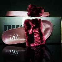 Puma Fenty x Rihanna Leadcat Fenty Fur Slide Women's Sandals Wine