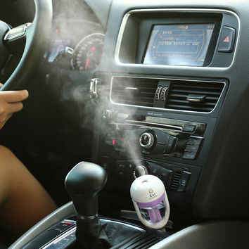 Cool USB Mini Car Steam Air Humidifier and Aromatherapy