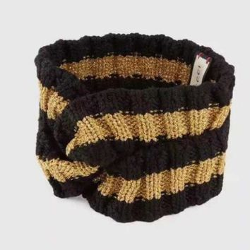 GUCCI Trending Knit Stripe Print Headwrap Headband Warmer Head Hair Band Black Gold