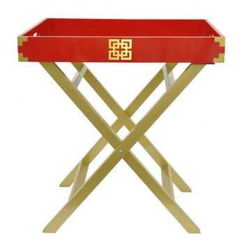Wood Serving Tray - Red/Gold