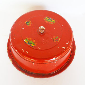 Vintage Cake Carrier, Red Cake Plate, Rustic Red Kitchen, Covered Plate, Aluminum Cake Cover, Shabby Chic