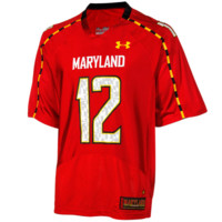 No.12 Maryland Terrapins Under Armour Replica Football Jersey – Red