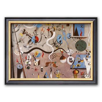 Art.com ''Carnival of Harlequin'' Framed Art Print by Joan Miró (Coventry Black Thin)