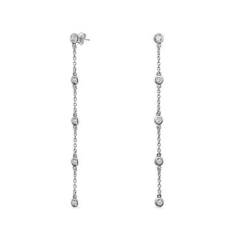 Long CZ By the Inch Dangle Prom Stud Earrings 925 Sterling Silver
