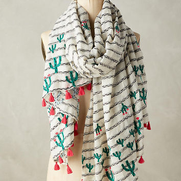 Embroidered Cacti Scarf
