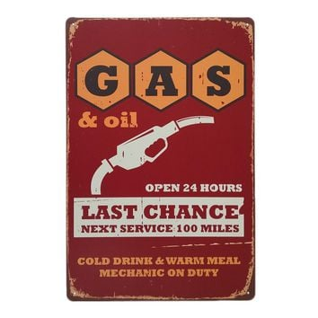 Gas Station Retro Style Iron Sign Painting Decorative Signs Plaque Vintage Metal Tin Sign Poster Bar Pub Club Home Decor 5 Types
