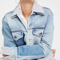 Free People Boyfriend Patched Trucker Jacket