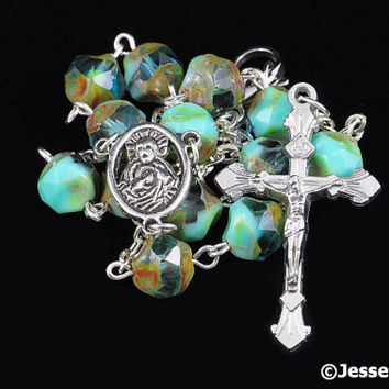 Auto Rosary Pocket Turquoise Green Czech Glass Picasso Faceted Rosary Beads 1 Decade Silver