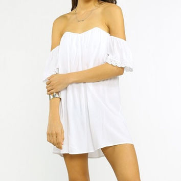 BAE BREEZE OFF THE SHOULDER DRESS - WHITE