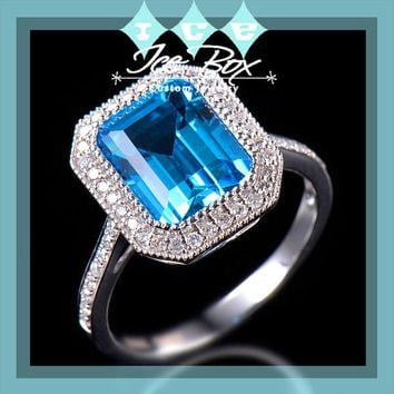 Blue Topaz Engagement Ring 3.44ct 10x8mm Emerald Cut in a 14k White Gold Diamond Halo Setting