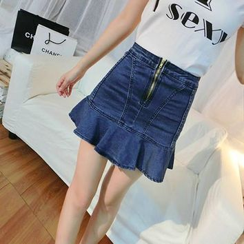 Ruffle Denim Summer Korean Slim Mermaid Skirt [11405207311]