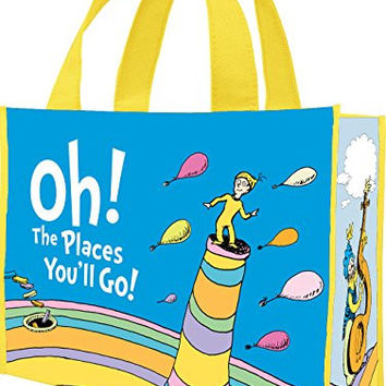 Vandor 17773 Dr. Seuss Oh The Places Recycled Shopper Tote, Large, Multicolored