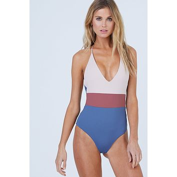 Chase Reversible One Piece Swimsuit - Muted Indigo Color Block