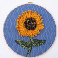 Large Crochet Sunflower Hoop Art, ready to ship.
