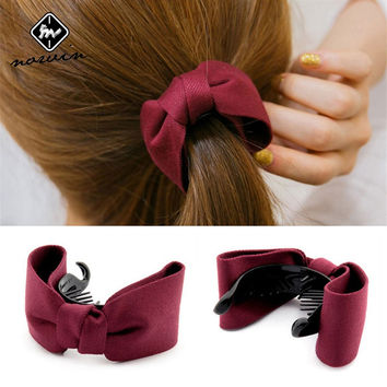 Norvin Hair Accessories For Women Girls Fashion Hairpin Side Banana Clip Twist Bow Gripper Tie Ponytail Clip Rubber Band New