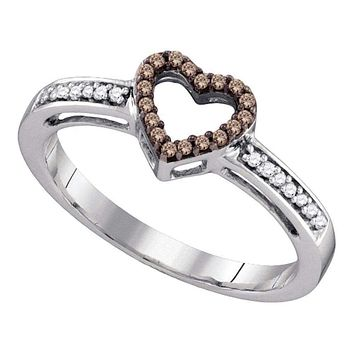 10kt White Gold Women's Round Cognac-brown Color Enhanced Diamond Simple Heart Ring 1/10 Cttw - FREE Shipping (US/CAN)