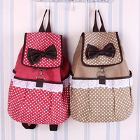 Lovely Cute Dot Bow Lace Canvas Backpack