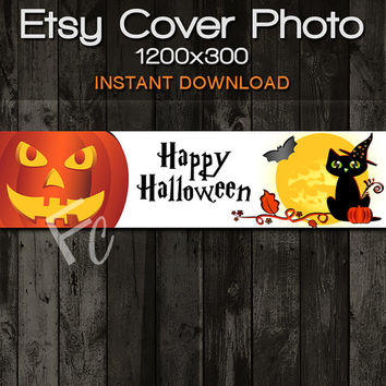 INSTANT DOWNLOAD, Etsy Shop Cover Photo 1200x300, Premade Happy Halloween Fall Design, Cat Witch and Pumpkin, Digital Files, Website Header