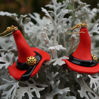 FREE SHIPPING Witch Red Hat Earrings. The best for Halloween. Polymer clay jewelry.