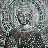 Indian Interior Decor Hand Carved Buddha Carving Panel Patina Wall Art Architectural