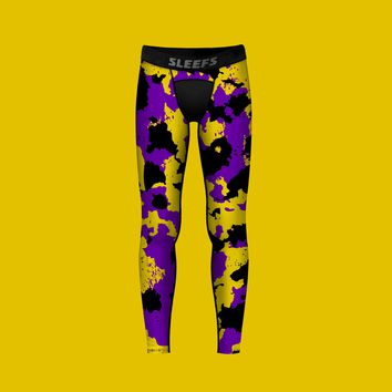 Corrosive Purple Black Yellow Tights for Kids
