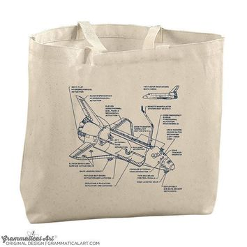 Space Tote Bag Science Tote Bags for Teachers Science Teacher Gifts Space Exploration Detailed Blue Print Space Ship Apollo Saturn Tote Bag