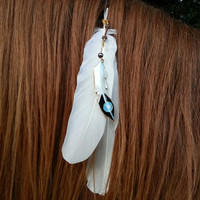 White Feather Equine Mane, Tail or Hair Ornament - feathers horse jewelry