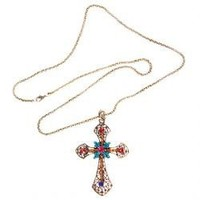 Elegant Colorful Rhinestone Inlaid Cross Pendant Zinc Alloy Necklace Chain Neck Ornament for Female (Gold)