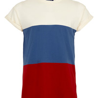 CREAM/RED/BLUE STRIPE T-SHIRT - TOPMAN USA
