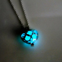 Luminous LED Necklace Hollow Out Love Pendants