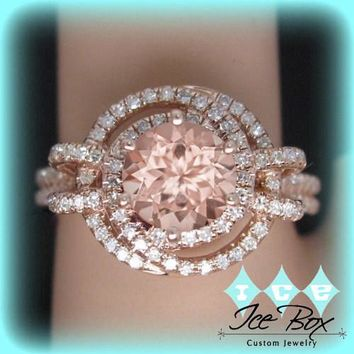 Round Peach Pink Morganite Engagement Ring in Diamond Knot Halo Setting 14K Gold