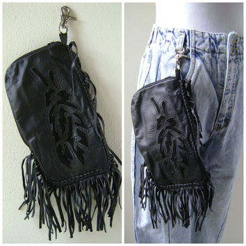 80s Fringe Belt Bag Wallet Purse Vintage Cutout Design Black Leather Coin Pouch Ladies Motorcycle Handbag 1980s Rocker Chic Small Clutch Bag