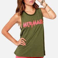 Billabong Headtrip Mermaid Print Green Muscle Tee