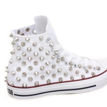 DCCK1IN studded converse converse high top with silver cone rivet studs by customduo on etsy