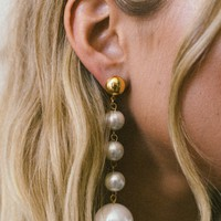 YUNIS K | Bella Pearl Drop Earrings - Gold