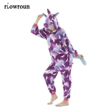 Onesuit Animal Stitch Pajamas Unicorn Kigurumi  For Adult Unisex  Women Pajamas Hooded  Sleepwear Winter Flannel Halloween Onesuit