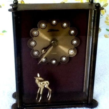 Atlanta Mauthe Germany Mantel Clock Antique 7 Jewels Brass Deer Figurine Vintage Time Keeper Little Fawn Figure Reversed Painting on Glass