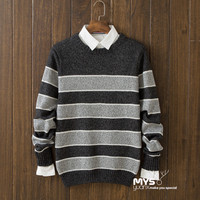 Casual Mens Comfortable Winter Warm Slim Fit Striped Sweater