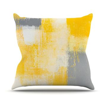 "CarolLynn Tice ""Breakfast"" Grey Gold Throw Pillow - Outlet Item"