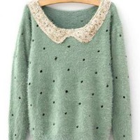 Green Vintage Polka Dot Sequins Sweater ST006G
