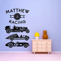 Vintage Racing -Personalized kids wall mural - Vinyl Wall Decal Sticker Art