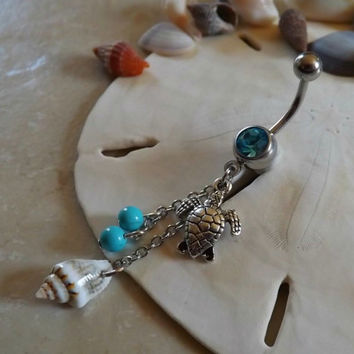 Turtle Belly Ring With Natural Shell and Turquoise Bead Body Jewelry