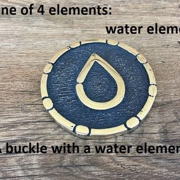 Water element, elemental buckle, elements buckle, 4 elements, four elements, elemental symbols, elemental charm, mens gift metal,belt buckle