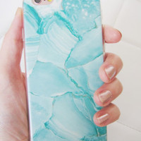 Faux marble turquoise blue green white boho iPhone 6 6S case marble stone swirl
